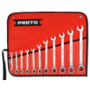 Proto® 11 Piece Full Polish Combination Reversible Ratcheting Wrench Set - Spline